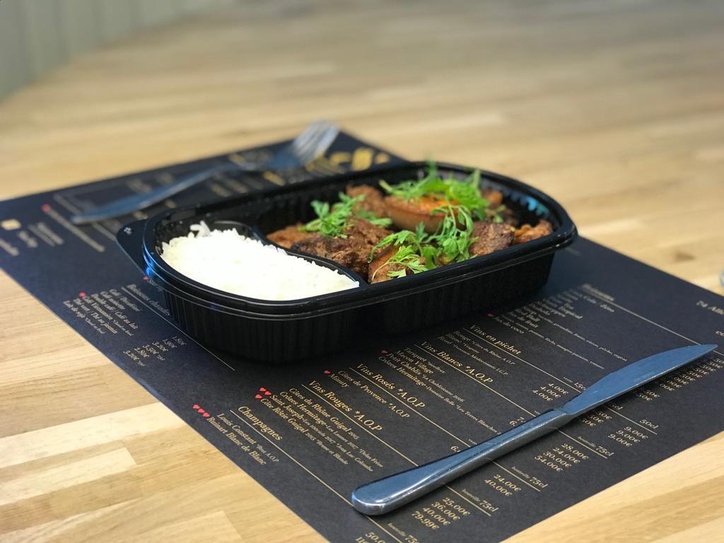 Riz Nature & Porc caramel (Uber eats)